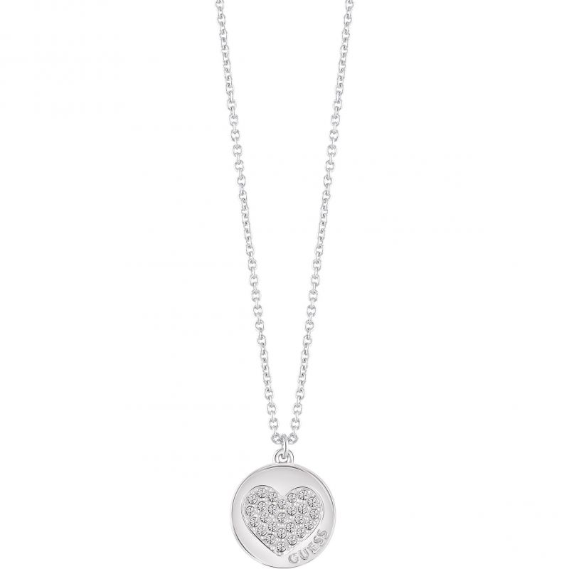 Ladies Guess Silver Plated Heart Devotion Necklace UBN82050