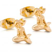 Ladies Disney Couture PVD Gold plated Little Mermaid Ariel Stud Earrings