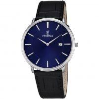 Herren Festina klassisch Leder Uhr