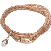 femme Unique & Co & Leather With Pearl Charm Bracelet Watch B291NA/19CM