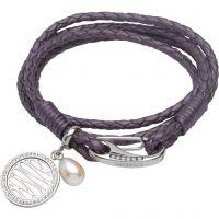 femme Unique & Co & Leather Pearl Wave Charm Bracelet Watch B296BE/19CM