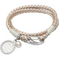 Damen Unique Edelstahl & Leder Perle Welle Anhänger Armband