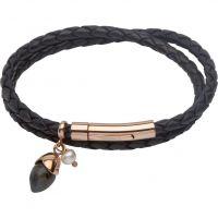 Damen Unique Edelstahl & Leder Labradorite & Perle Anhänger Armband