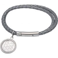 Ladies Unique & Co Stainless Steel & Leather Flower Of Life Charm Bracelet