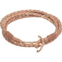Damen Unique Edelstahl & Leder Anchor Verschluss Armband