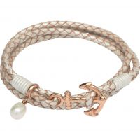 Damen Unique Edelstahl & Leder Anchor Verschluss & Perle Anhänger Armband