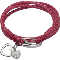 Ladies Unique Stainless Steel & Leather Crystal Heart Charm Bracelet B315ACY/19CM