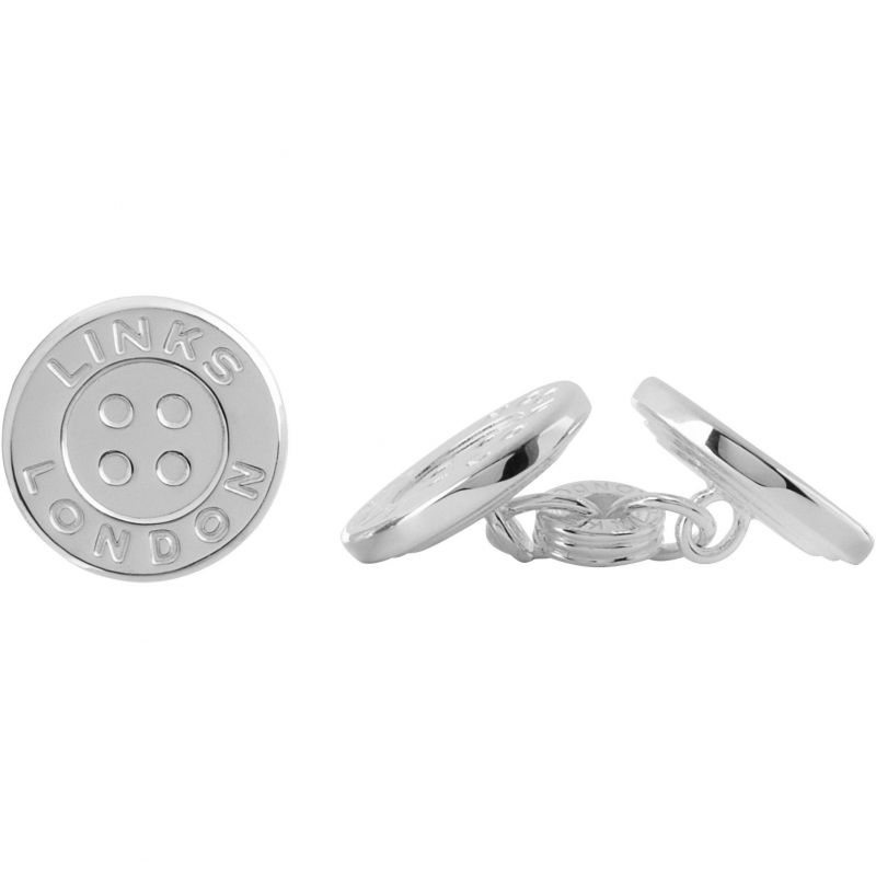 Mens Links Of London Sterling Silver Button Chainlink Cufflinks 2515.0394