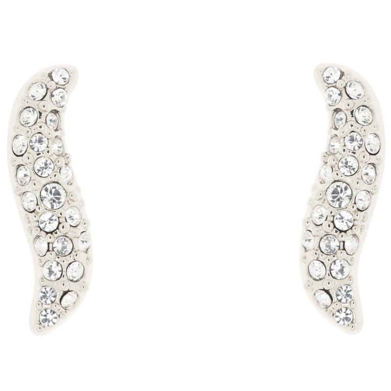 Ladies Karen Millen Silver Plated Pave Crystal Wave Stud Earring KMJ951-01-02