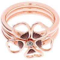Ladies Ted Baker Rose Gold Plated Leotie Enamel Flower Stacking Ring SM TBJ1243-24-23SM