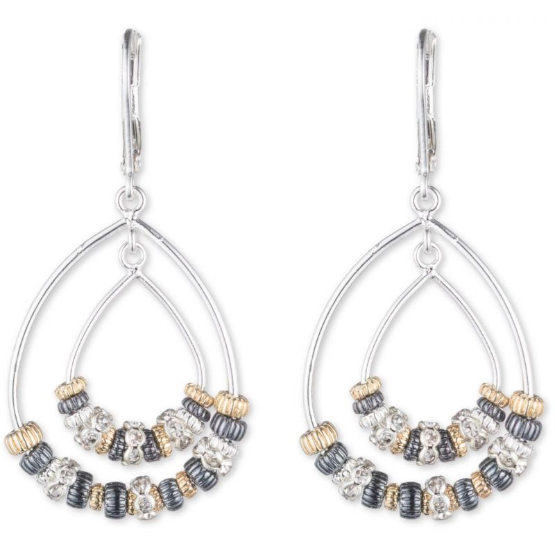 Ladies Nine West Two-tone steel/gold plate Metal Mingle Earrings 60441223-Z01