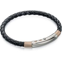 Mens Fred Bennett Two-Tone Steel and Rose Plate Leather Bracelet