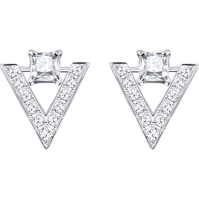 Ladies Swarovski Rhodium Plated Funk Earrings 5241278