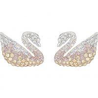 Damen Swarovski Rhodium Plated charakteristisch Swan Ohrringe