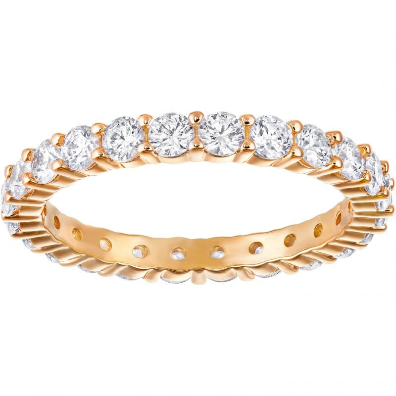 Ladies Swarovski Rose Gold Plated Size L Vittore Ring 5257492