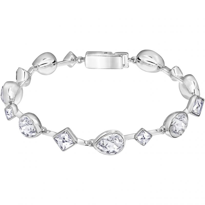 Ladies Swarovski Rhodium Plated Folk Bracelet 5215339