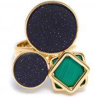 Ladies Lola Rose Gold Plated Malachite & Blue Sandstone Garbo Cluster Ring 583916