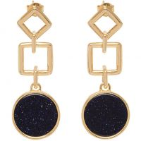 Ladies Lola Rose Rose Gold Plated Blue Sandstone Garbo Large Circle Earrings 583480