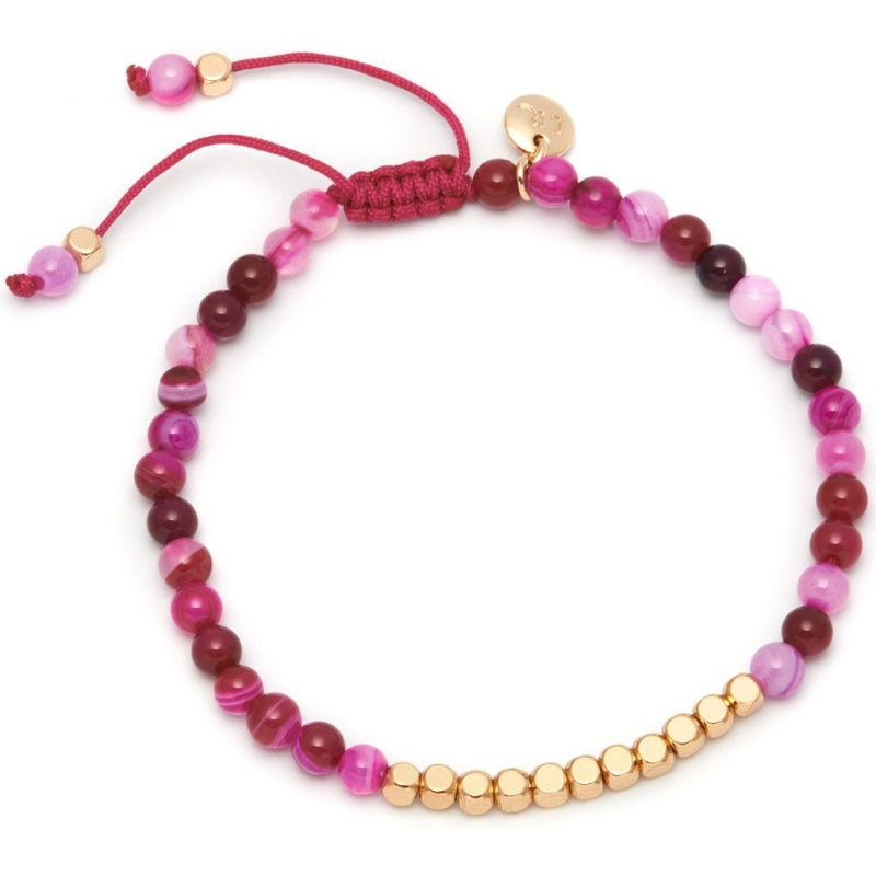 Ladies Lola Rose Gold Plated Pink Agate Marylebone Bracelet 456081
