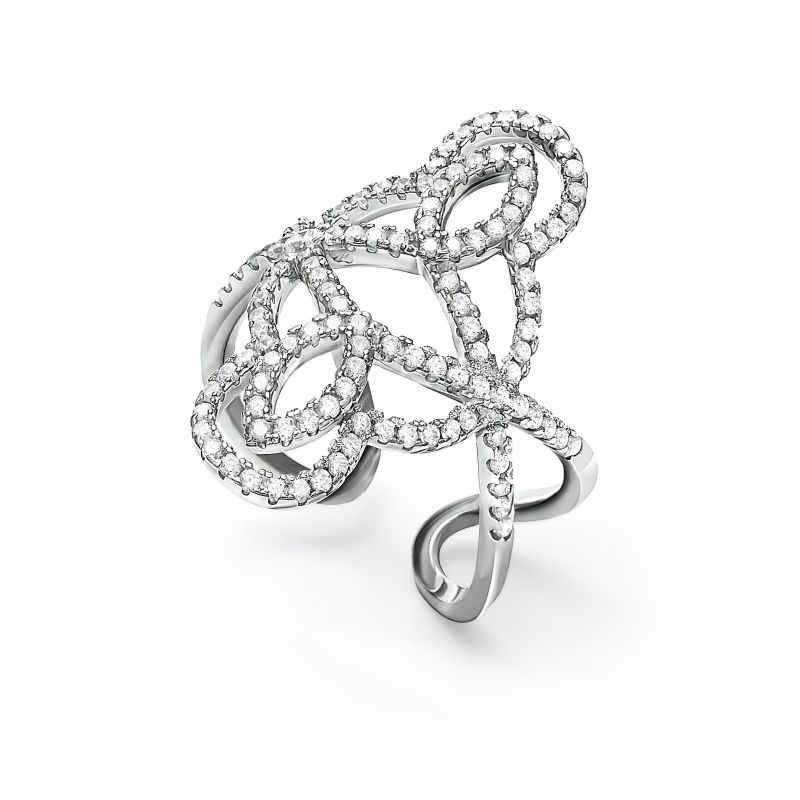 Ladies Folli Follie Sterling Silver Fashionably Silver Swirl Ring Size P 5045.6325
