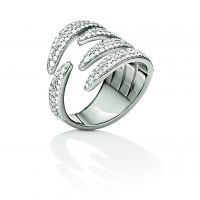 Ladies Folli Follie Stainless Steel Fashionably Silver Wrap Sparkle Ring Size P