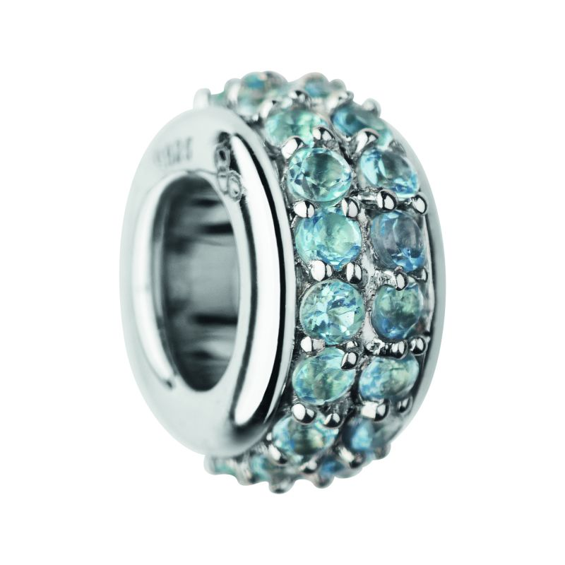 Ladies Links Of London Sterling Silver Pave Rondel Blue Topaz Pave Bead 5030.2418