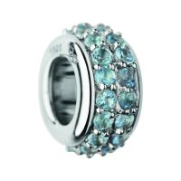 Ladies Links Of London Sterling Silver Pave Rondel Blue Topaz Pave Bead