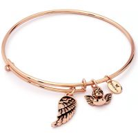 Ladies Chrysalis Rose Gold Plated Charmed Guardian Angel Expandable Bangle
