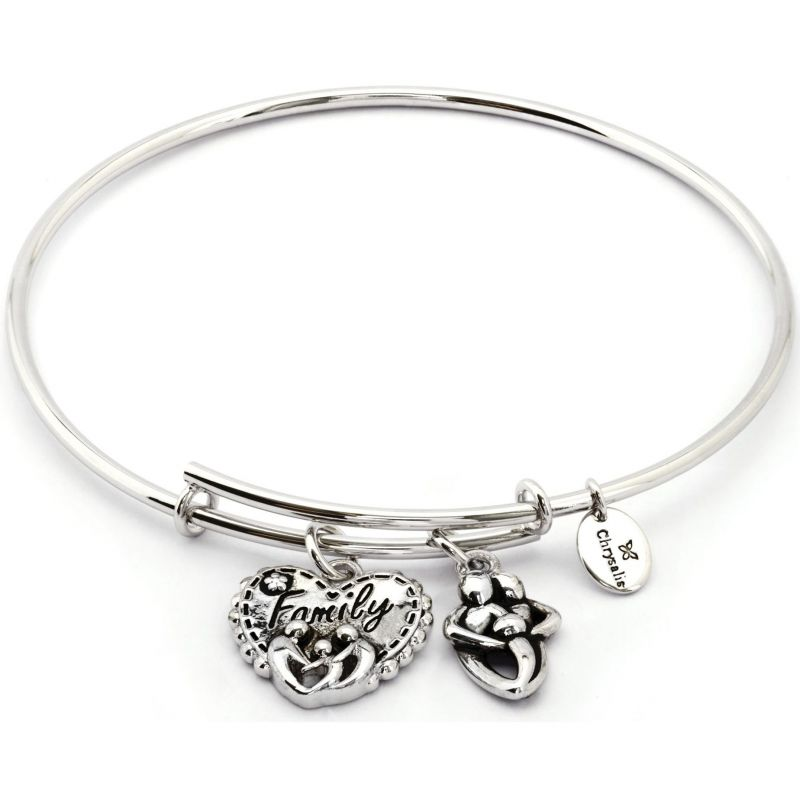 Ladies Chrysalis Silver Plated Thinking Of You Family Expandable Bangle CRBT0723SP