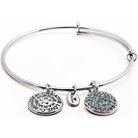 Ladies Chrysalis Silver Plated Good Fortune December Blue Topaz Crystal Expandable Bangle