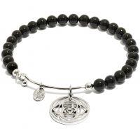 Ladies Chrysalis Silver Plated Happiness Chakra Black Onyx Root Bangle CRBH0701SP