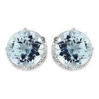 Weißgold Diamant und Blau Topas Ohrringe