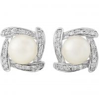 White Gold Diamond and Pearl Stud Earrings