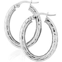 White Gold Tracery Motif Hoop Earrings