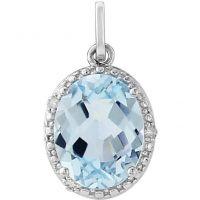 Weißgold Diamant und Blau Topas Anhänger