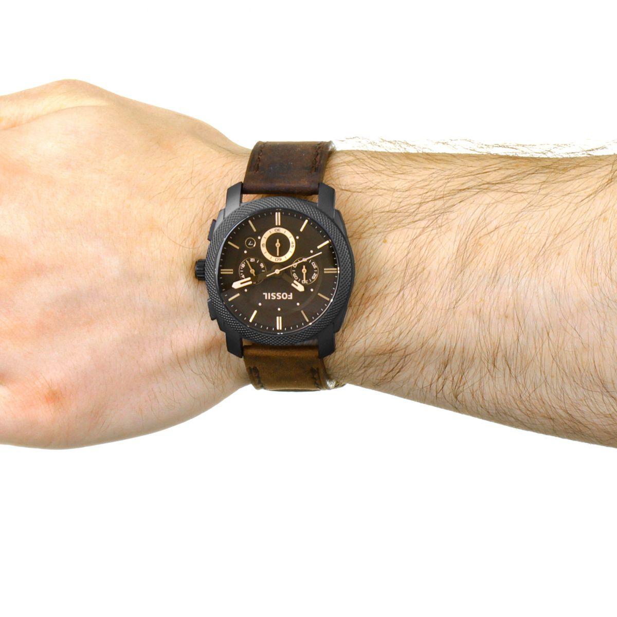 hommes fossil machine coffret chronographe montre fs5251set. Black Bedroom Furniture Sets. Home Design Ideas