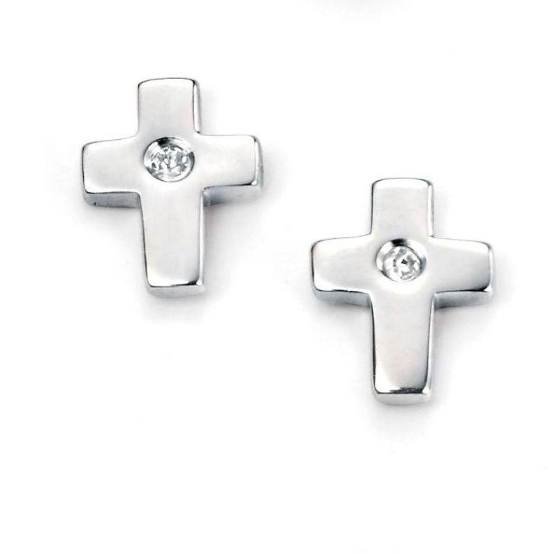 Childrens D For Diamond Sterling Silver Cross Stud Earrings E5156