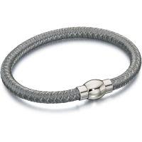 Herren Fred Bennett Silber Plated Grau Nylon Armband