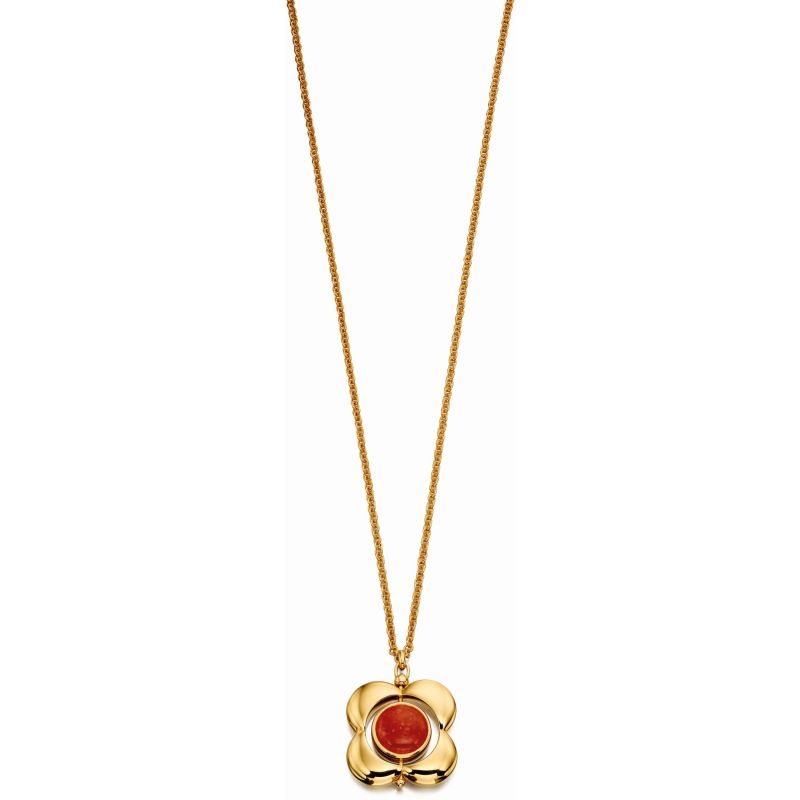 Ladies Orla Kiely Sterling Silver Tigers Eye & Red Quartz Rotating Flower Necklace N4039