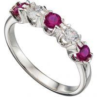 Damen Elemente Sterlingsilber würfelförmig Zirconia Ewigkeit Ring Größe N