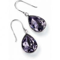 Ladies Elements Sterling Silver Crystal Tear Earrings