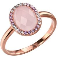 Ladies Elements Sterling Silver Rose Quartz and Cubic Zirconia Ring Size L