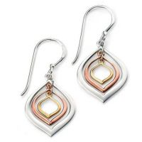 Ladies Elements Sterling Silver Open Marquis Earrings