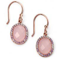 Damen Elemente Sterlingsilber Rose Quarz und würfelförmig Zirconia Ohrringe