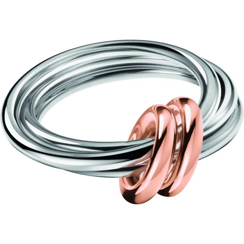 Ladies Calvin Klein Two-Tone Steel and Rose Plate Size P Nimble Bico Ring KJ5HMR200108