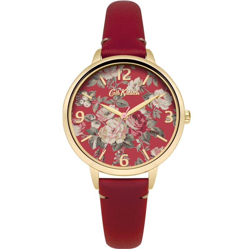 Damen Cath Kidston Garden Rose Red Leather Strap Watch CKL001RG