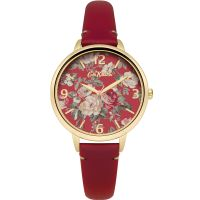 Cath Kidston Garden Rose Red Leather Strap Damklocka Röd CKL001RG