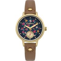 Ladies Cath Kidston Little Flower Buds Tan Leather Strap sub Dial Watch