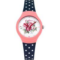 Damen Cath Kidston Spray Blumen Navy gepunktet Silicone Armband Uhr