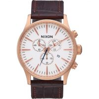 Nixon The Sentry Chrono Leather Herenchronograaf Bruin A405-2459